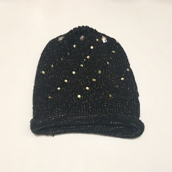 Accessories - Black Beanie with Jewel Detail